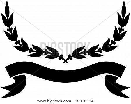 Vector Ribbon And Laurel Wreath Isolated