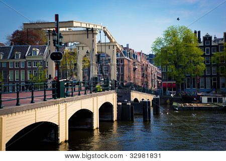 The Magere Brug, Skinny Bridge. Amsterdam, Holland, Netherlands