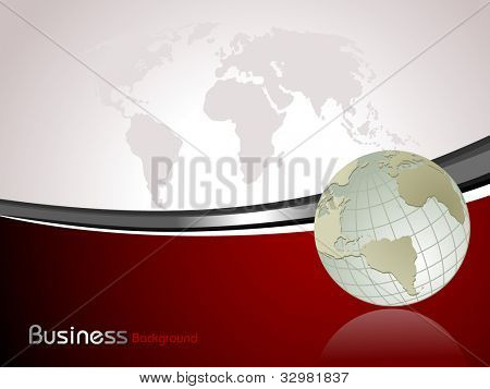 Professional Corporate or Business template for financial presentations showing globe in  silver metallic color on red wave background. EPS 10. Vector illustration.