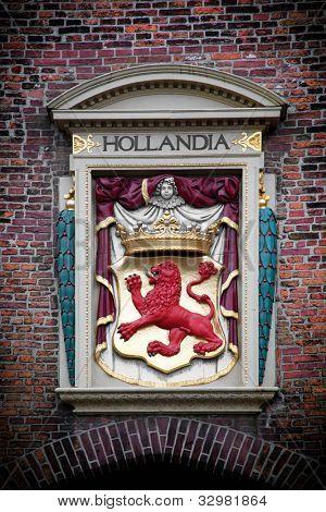 Hollandia sculpture on the building in The Hague (Den Haag), Netherlands