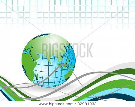 Professional Corporate or Business template for financial presentations showing globe in blue and green color on  wave background. EPS 10. Vector illustration.