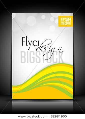 Professional business flyer template or corporate brochure design in yellow and green color with wave pattern for publishing, print and presentation. EPS 10.