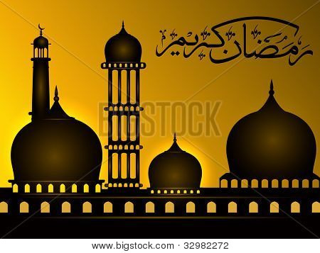 Arabic Islamic calligraphy of Ramazan Kareem or Ramadan Kareem  text with Mosque or Masjid on modern abstract background in golden color. EPS 10. Easy to edit.