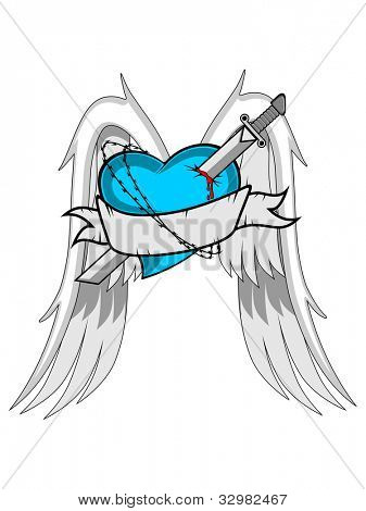Vector illustration of a tattoo heart with wings, sword and ribbon,  isolated on white background. can be use as icon, tag, label, sticker or tattoo.
