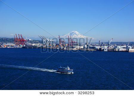 Seattle Waterfront - Dockyard Cranes;  Mt. Rainier