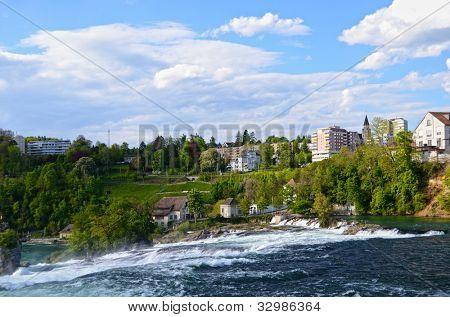 Largest waterfall in Europe. Rhinefall, Switzerland