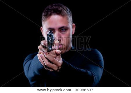 Man aiming a gun