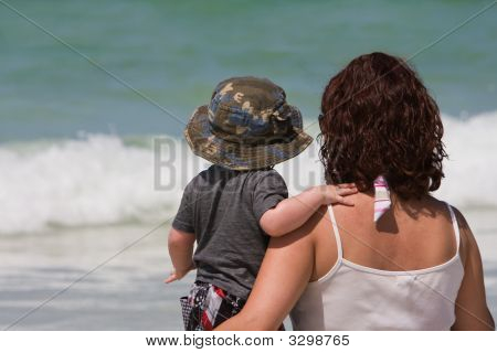 Mother And Son Ocean Gazing