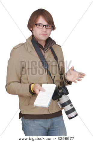 Photojournalist Guy With Notebook