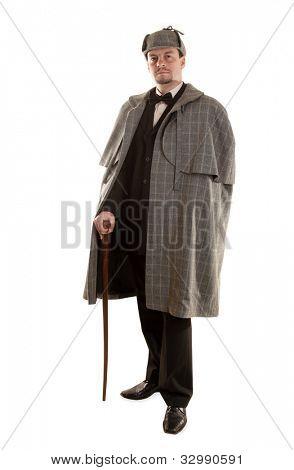 Detective Sherlock Holmes portrait on white
