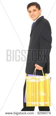 Business Man Carrying Shopping Bag