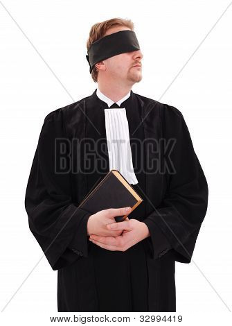 Blindfold Lawyer Holding Book