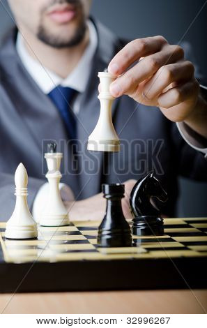 Chess player playing his game