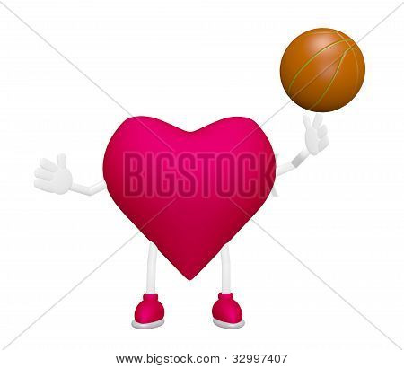 Heart Training With Basketball Heart Health Sport Concept On White Background