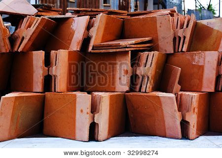 Close Up Shot Of Thai Temple Roof Tile Stack,in Temple Thailand