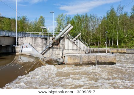 Barrage In River Meuse For Regulating The Water Level