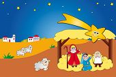 stock photo of christchild  - illustration of nativity with jesus mary and joseph - JPG