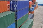 pic of container ship  - Stacks of shipping contaners at a port - JPG