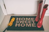 Autumn rain boots on entrance door mat at front of house with wet umbrella welcome rug on wooden flo poster