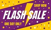 Flash Sale Shop Now Concept Banner. Flat Illustration Of Flash Sale Shop Now Vector Concept Banner F poster