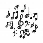 Vector Hand Drawn Music Notes Icon Set. Sketchy Cartoon Musician Sign In Kids Doodle Style. Real Pen poster