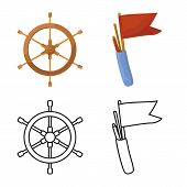 Vector Design Of Journey And Seafaring Logo. Collection Of Journey And Vintage Stock Vector Illustra poster