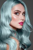 Blue Or Turquoise Hair.  Dye For Coloring. Close Up Portrait Of Fashion Model With Stylish Make Up,  poster