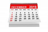 2019 Year December Calendar On A White Background. 3d Rendering poster