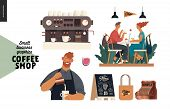 Coffee Shop - Small Business Illustrations - Set - Modern Flat Vector Concept Illustration Of Man Ba poster