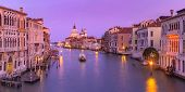 Panorama Of Grand Canal And The Basilica Of St Mary Of Health Or Santa Maria Della Salute At Sunset  poster