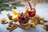 Mulled Wine. Christmas Mulled Wine Delicious Holiday Like Parties With Orange Cinnamon Star Anise Sp poster