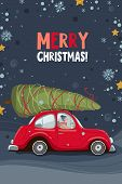 Merry Christmas And Happy New Year Greeting Card With Red Car And Christmas Tree. Postcard, Greeting poster