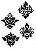stock photo of brocade  - Damask flower patterns for design and ornate isolated on white - JPG