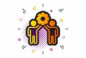 Collaboration Sign. Halftone Circles Pattern. Employees Teamwork Icon. Development Partners Symbol.  poster