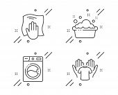 Washing Machine, Hand Washing And Hold T-shirt Line Icons Set. Laundry, Laundry Basin, Wipe With A R poster