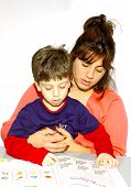stock photo of storytime  - mother and her child reading - JPG