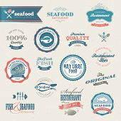 stock photo of oyster shell  - Seafood labels and elements for restaurant - JPG