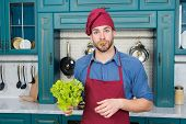Professional Kitchen. Traditional Cuisine. Man At Kitchen Concept. Go Green. Handsome Cook In Kitche poster