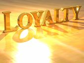 stock photo of loyalty  - 3D Loyality Gold text over yellow background - JPG