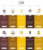 Csr Infographic 10 Option Ui Design.responsibility, Sustainability, Ethics, Goal Simple Icons poster