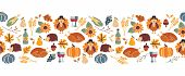 Vector Border Thanksgiving. Seamless Autumn Food Roast Turkey Corn Wine Pumpkin Family Dinner Greeti poster
