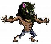 picture of wolfman  - Cartoon werewolf with teeth and claws - JPG