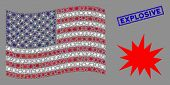 Bang Pictograms Are Combined Into Usa Flag Stylization With Blue Rectangle Distressed Stamp Watermar poster