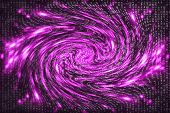 Pink Matrix Digital Background. Distorted Cyberspace Concept. Characters Fall Down In Wormhole. Hack poster