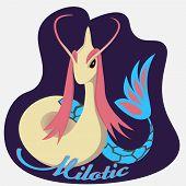 Pokemon Go Sea Dragon Milotic Logo On Ultraviolet Background poster
