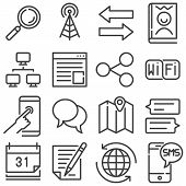 Communication Line Icons Set. Linear Style Symbols Collection, Outline Signs Pack. Vector Graphics.  poster