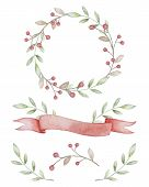 Watercolor Rustic Wreath. Branches, Berries, Ribbon. Rustic Branch Monogram. Decor For Invitations.  poster