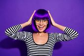 Photo Of Pretty Lady Listen Unexpected Lottery Announcement Wear Specs Wig Striped Pullover Isolated poster