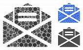 Open Mail Composition Of Round Dots In Various Sizes And Color Tones, Based On Open Mail Icon. Vecto poster