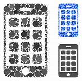 Mobile Apps Mosaic Of Round Dots In Variable Sizes And Color Tones, Based On Mobile Apps Icon. Vecto poster